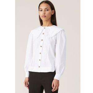 NWT Ganni Cotton Poplin Shirt Sz 34